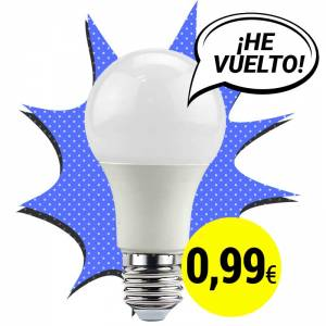 OFERTA BOMBILLA LED A60 10W E27 ECOLÓGICA A 0,99 EUROS Modelo: B1358-PROMO-BN Condición: Nuevo Bombilla LED A60 E27 10W.  La primera Bombilla LED de calidad por menos de 1€  ECOLÓGICA. LARGA DURACIÓN. SIN MATERIALES PELIGROSOS. MÍNIMO CONSUMO, MÁXIMA EFICIENCIA. TODO GRACIAS AL LED.ÚNETE A LA #AHORROLOGÍA