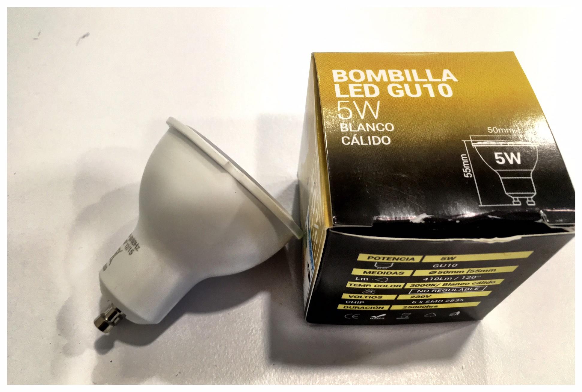 Bombillas LED GU10 Hay 26 productos. Precio en Agosto 2016 ... 2,61.€ Las bombillas LED GU10 son las sustitutas de las bombillas conocidas comúnmente como halógenas u ojo de buey. Los usos de este tipo de bombillas son muy amplios, y se adecuan perfectamente tanto