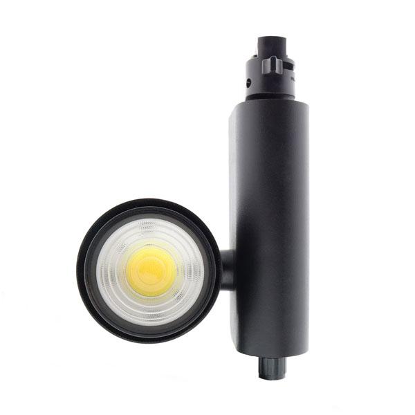 Foco LED para carril CobFix Negro 35W Monofásico CCT + Óptica regulable