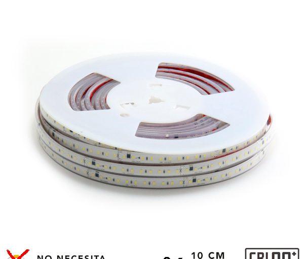 Tira de LED a 220V AC con chip SMD2835 con 110 LED/m, se puede realizar el corte cada 10 cm por la parte señalizada.