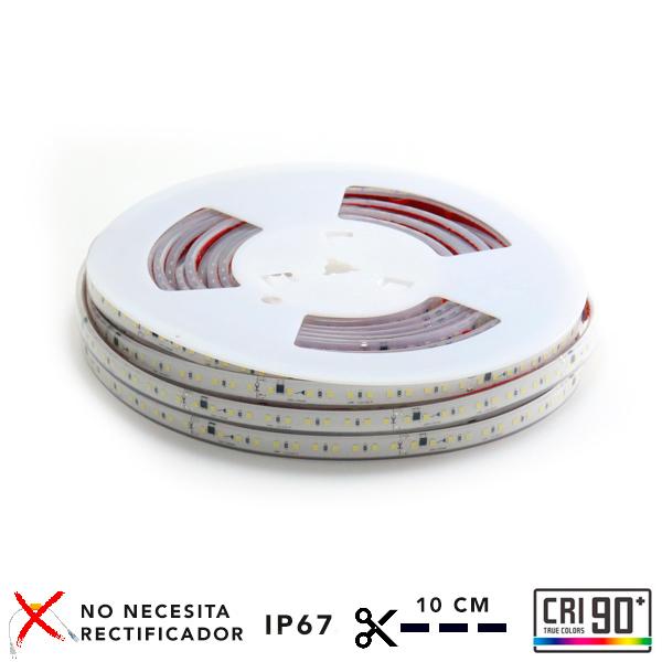 Tira de LED a 220V AC con chip SMD2835 con 110 LED/m, se puede realizar el corte cada 10 cm por la parte señalizada