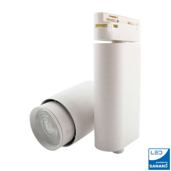 Foco LED para carril CobFix Blanco 35W Monofásico CCT + Óptica regulable