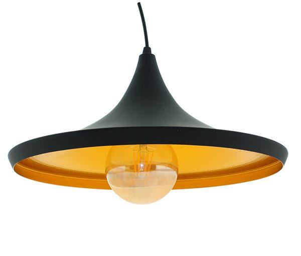 Lámpara de techo Vintage Lenn Lámpara de techo colgante de metal en acabado negro mate, con un punto de luz con casquillo E27