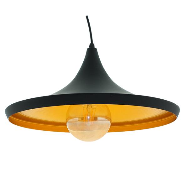 Lámpara de techo Vintage Lenn Lámpara de techo colgante de metal en acabado negro mate