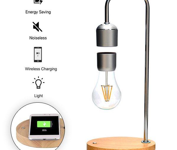 Lámpara de Sobremesa LED con Levitación Magnética + Cargador Móvil