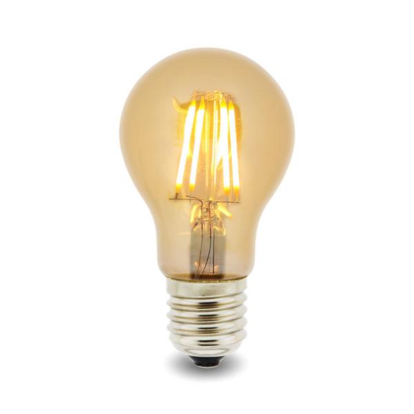 Bombilla LED Filamento E27 A60 4W Ámbar
